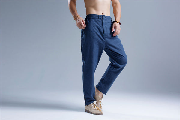 Men Casual Pure Color Cotton and Linen Straight Type Leg Opening Buckle Pants