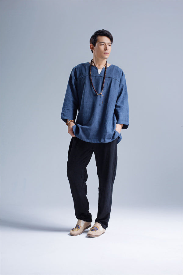 Men Pullover V-neck Linen and Cotton T-shirts Tops