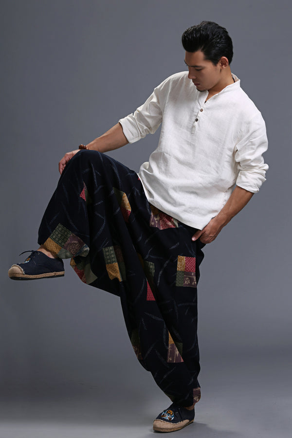 Men Casual Loose Cotton and Linen Printed Hanging Crotch Yoga Pants