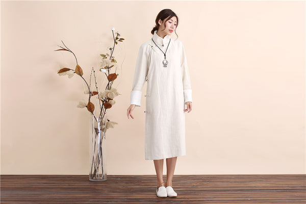 30% Sale!!! Women Traditional Chinese Style Linen and Cotton Dress