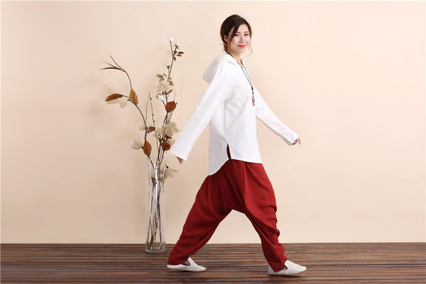 Women Retro Style Linen and Cotton Hoodies