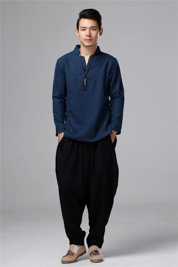 Men New Style Hangfu Kungfu Style Linen and Cotton T-shirts Tops