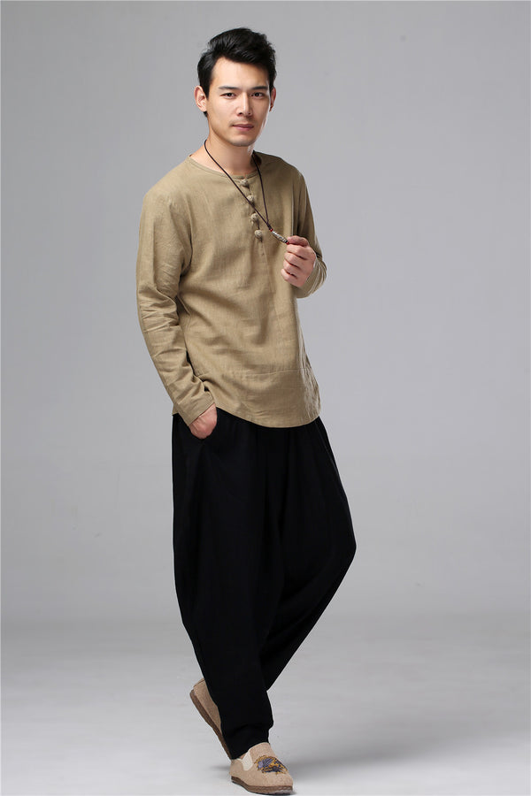 Men Chinese Folk Style Long Sleeve Linen and Cotton T-shirt Top