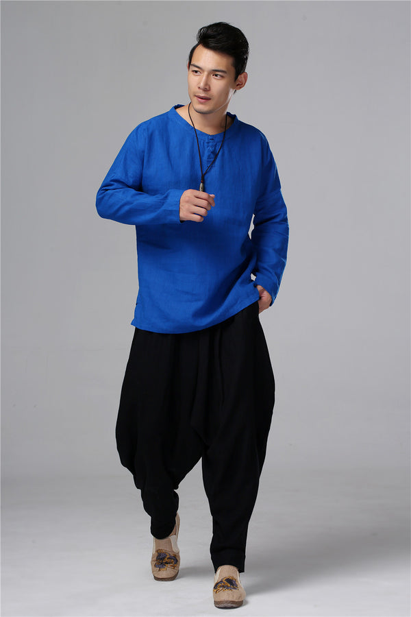 Men New Style Hangfu Kungfu Zen Style Linen and Cotton T-shirts Tops