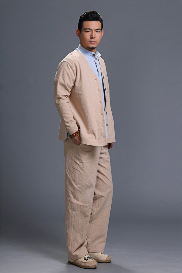 SALE! 2020 NEW! Men Asian Style Linen and Cotton V-neck Long Sleeve Jacket