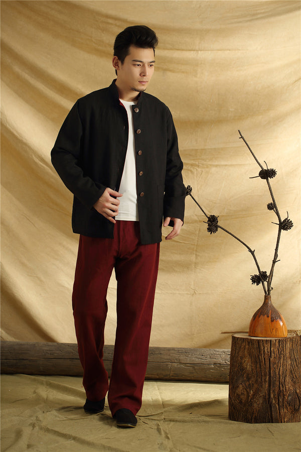 Men Asian Traditional Style Double-sided Linen and Cotton Jacket