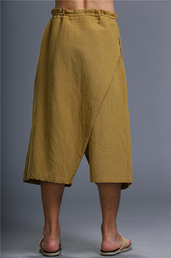 Men Loose Causal Pure Color Cotton and Linen Hanging Crotch Cropped Pants