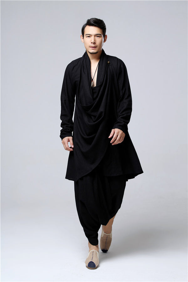 30% Sale!!! Men Eastern Zen Style Kung Fu Tai Chi Hanfu Zen Linen and Cotton Clothes Set (Top + Pant)