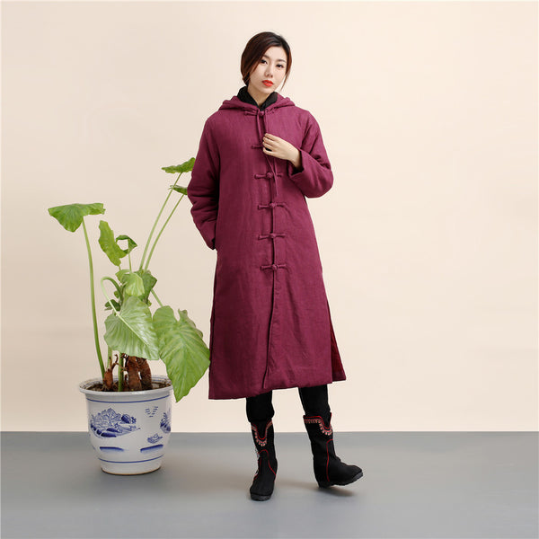 2020 NEW! Women Retro Style Long Linen and Cotton Quilted Coat with Hoodie