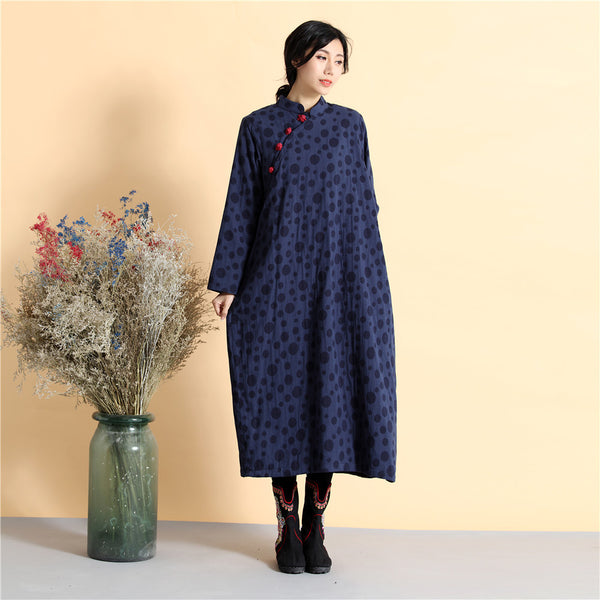 2020 NEW! Women Asian Style Long Top Buckle Linen and Cotton Dress (inner with velvet)