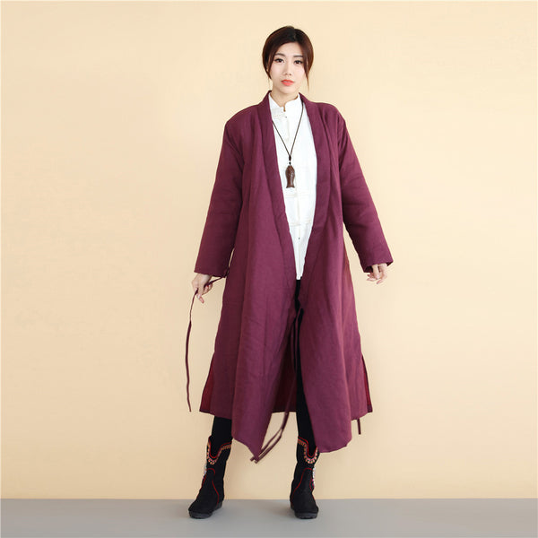 2020 NEW! Women Asian Robes Style Causal Long Loose Linen and Cotton Quilted Coat