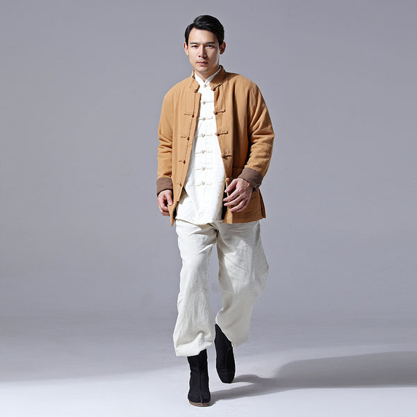 2020 NEW! Men Retro Chinese Style Linen and Cotton Jacket (inner with velvet)