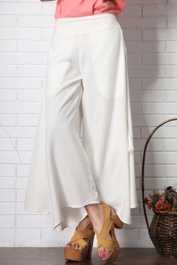 Women Pure Color Linen and Cotton Wide Leg Pants