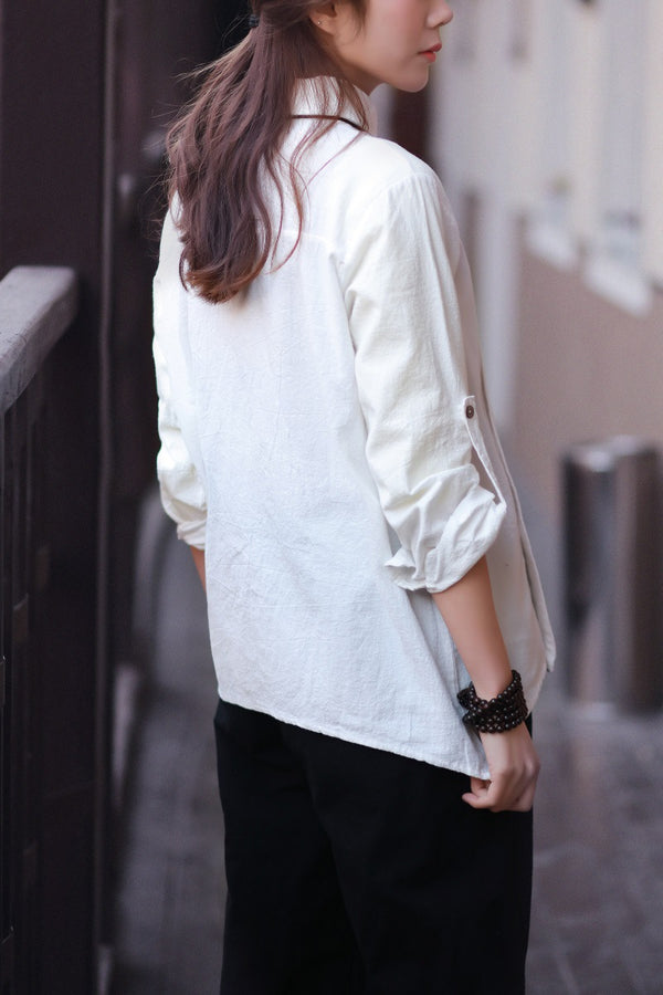Women cotton and linen lapel oblique long-sleeved shirt