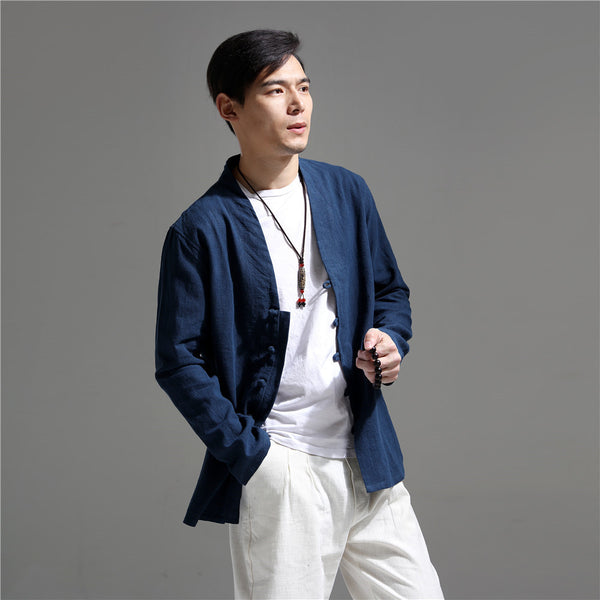 Men Simple Causal Linen and Cotton Cardigan Jacket