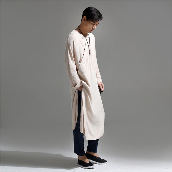 Men Chinese Traditional Causal Style Kung Fu Tai Chi Hanfu Linen and Cotton Long Cheongsam