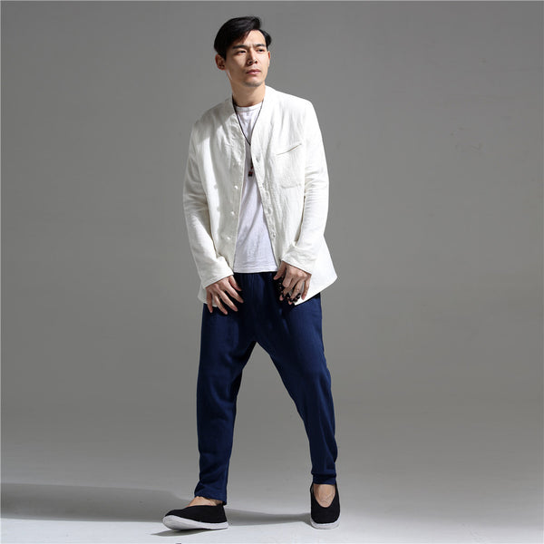 Men Causal Linen and Cotton Jacket