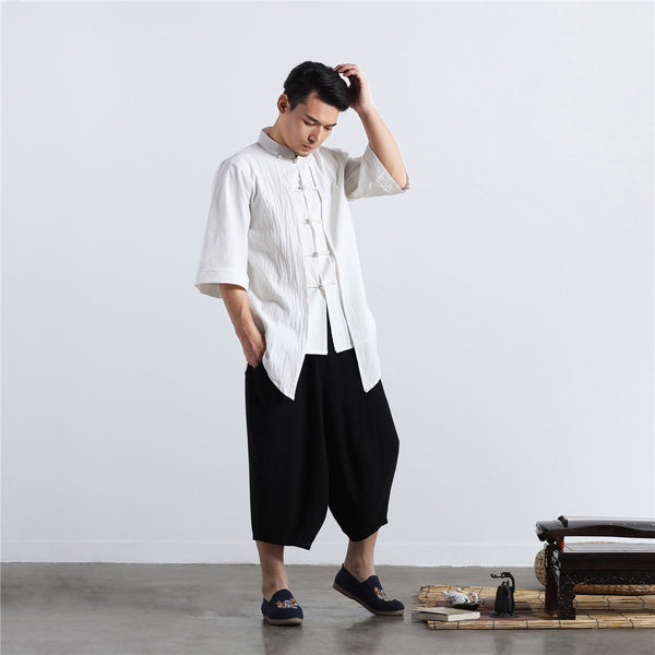 2020 NEW! Men White Thin Zen Style Linen and Cotton Short Sleeve Tops