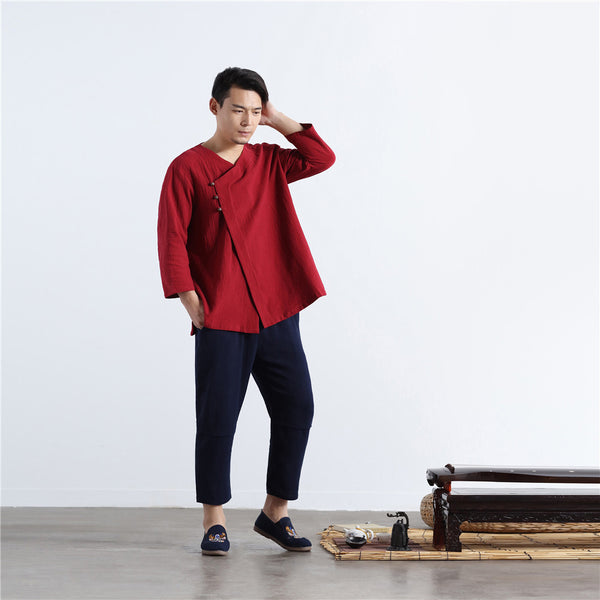 2020 NEW! Men Asian Retro Zen Style Linen and Cotton 3/4 Sleeve Tops