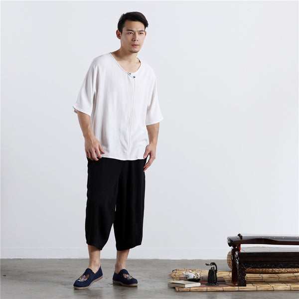2020 SUMMER NEW! Men Thin Wide Zen Style Linen and Cotton Middle Sleeve Tops