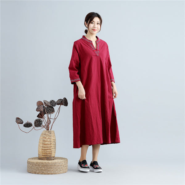 Women Asian Type Women Linen and Cotton Embroidered Tea Length Dress