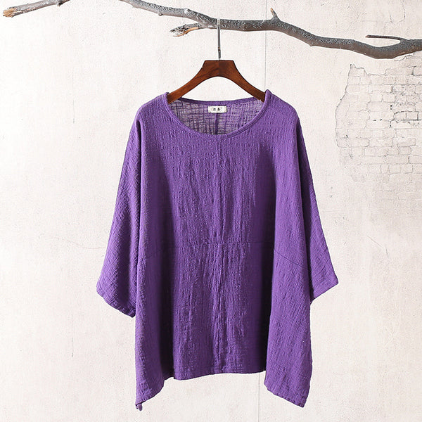 Retro Loose Large Size Round Neck Women Cotton and Linen T-shirt