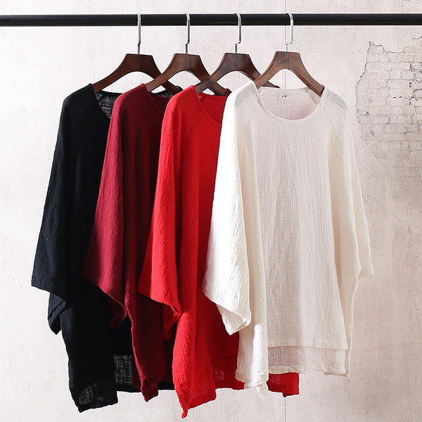 Women Cotton and Linen Loose Large Size T-shirt