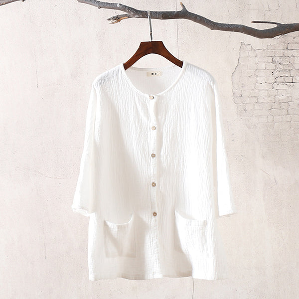 Pure Color Loose Women Cotton and Linen Cardigan Shirt