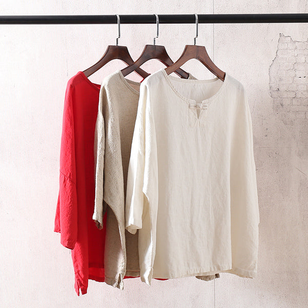 Retro Loose Flax Middle Sleeved Women Linen and Cotton T-shirt
