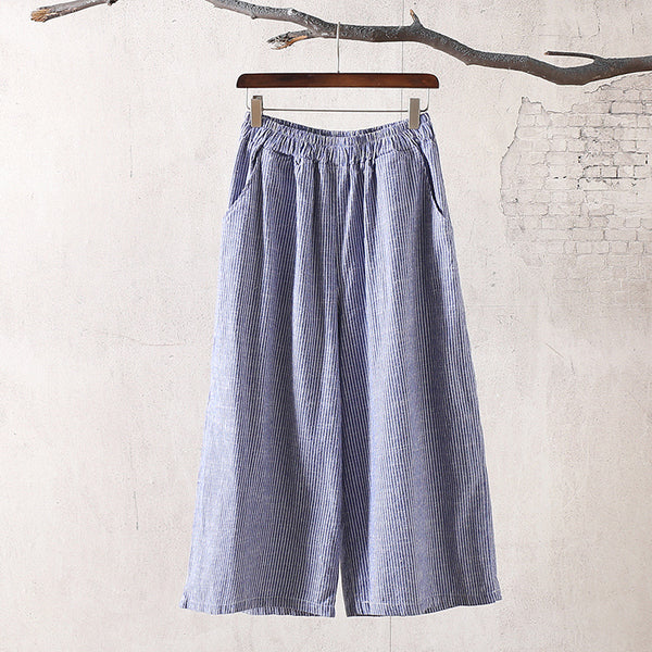 Women Causal Linen and Cotton Wide Leg Cropped Pants