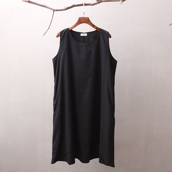 Women Simple Pure Color Thin Light Knee Length Linen and Cotton Sleeveless Dress