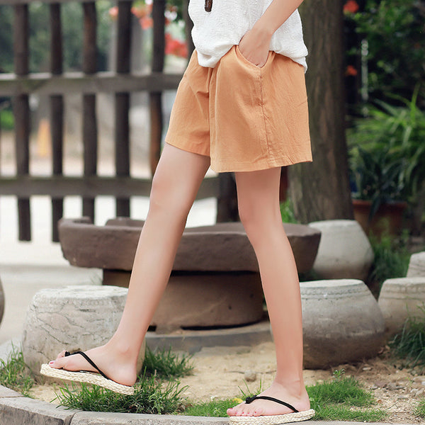 30% Sale!!! Women Loose Leisure Linen and Cotton Causal Shorts