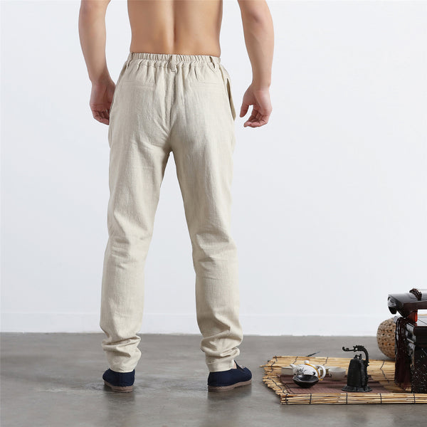 30% Sale!!! Men Pure Color Cotton and Linen Straight Type Jogger Pants