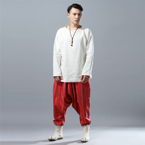 Men Casual Loose Stripe Patterned Cotton and Linen Hanging Crotch Pants