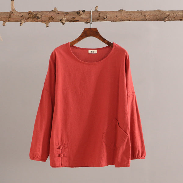 Women Casual Loose Cotton and Linen Round Neck long-sleeved T-shirt