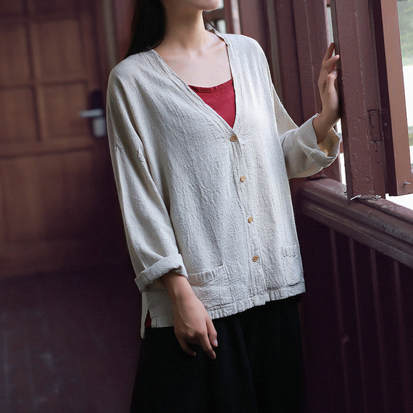 Women Casual Loose Cotton and Linen Long-sleeved Cardigan Shirt