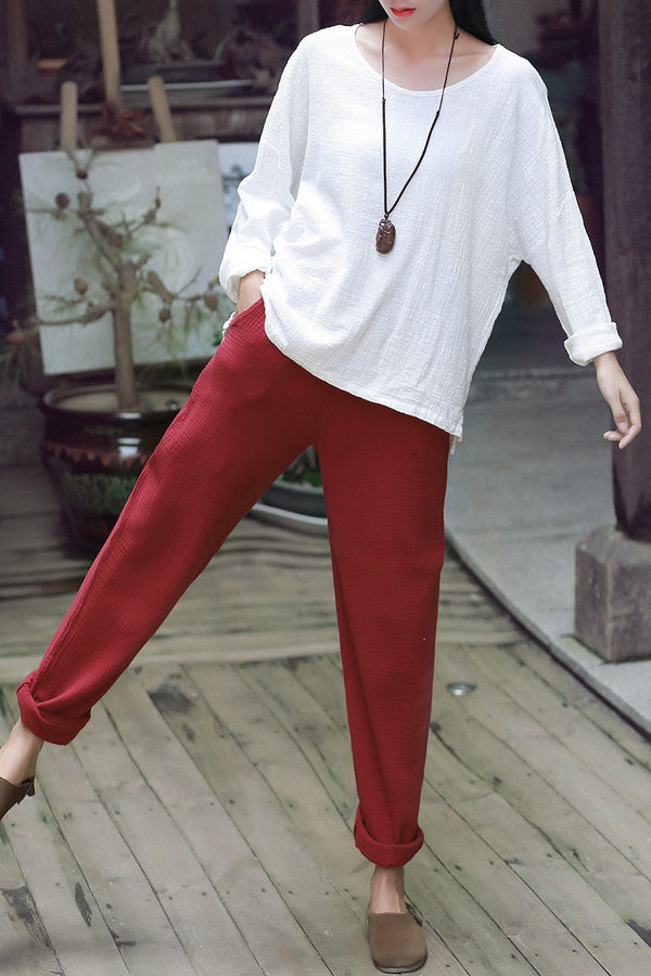 Women Simple Casual Linen and Cotton Pants