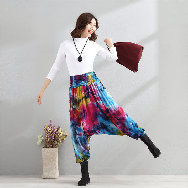 Women Casual Loose Colorful Linen and Cotton Silk Hanging Crotch Pants