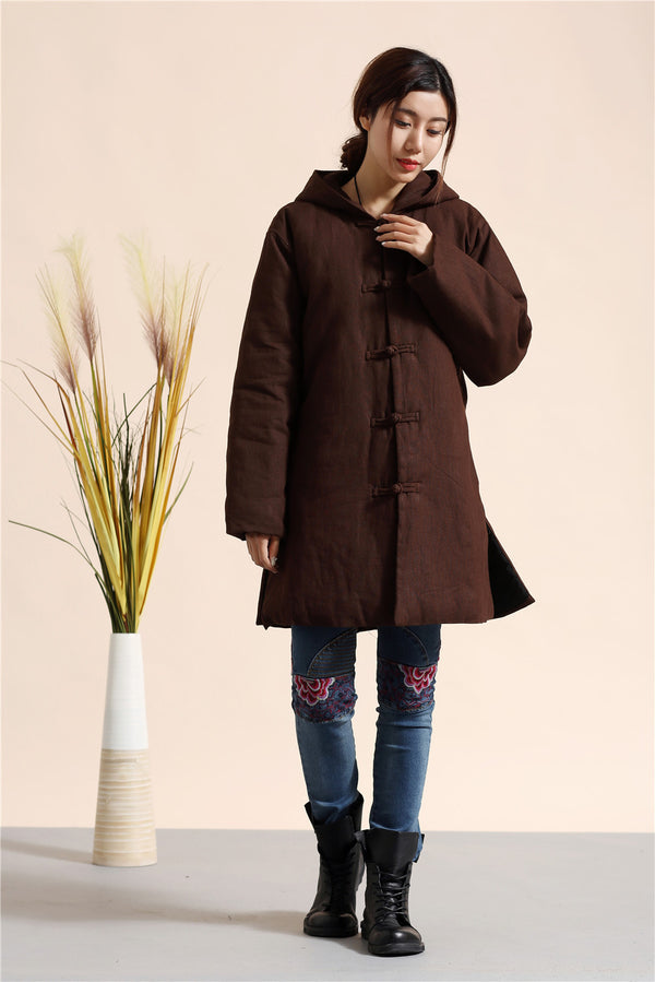 2020 NEW! Women Retro Style Causal Middle Length Linen and Cotton Quilted Coat
