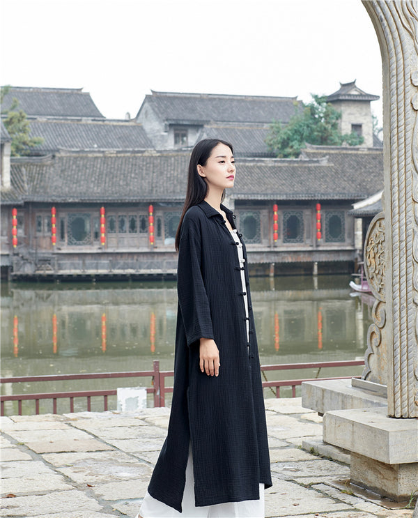 Women KungFu Style Cardigan Retro Buckle Collar Long sleeve Linen and Cotton Coat