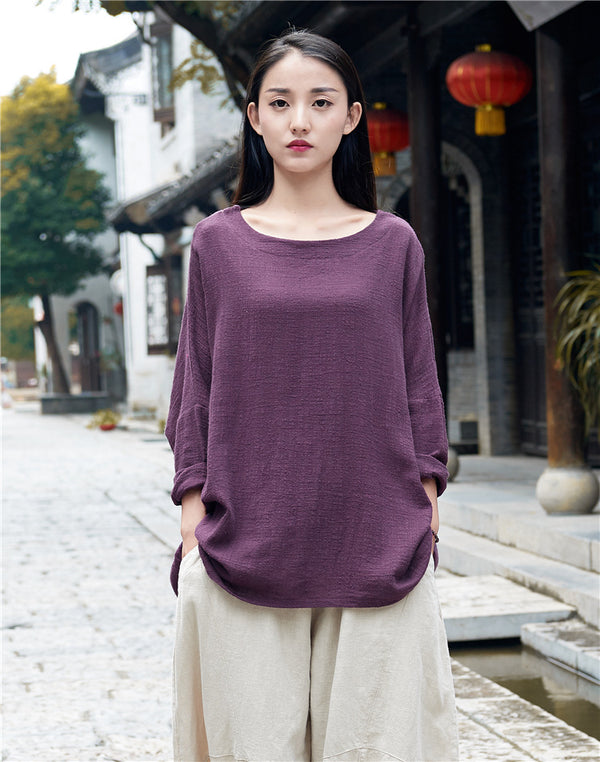 Retro Women cotton and linen Round Neck loose long-sleeved T-shirt