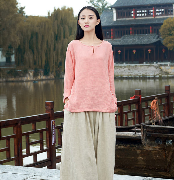 Retro Asian Style Women cotton and linen Round neck loose long-sleeved T-shirt