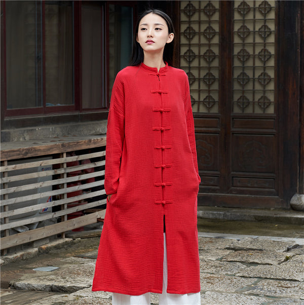 Women Retro Buckle Collar Long Sleeve Linen and Cotton Coat