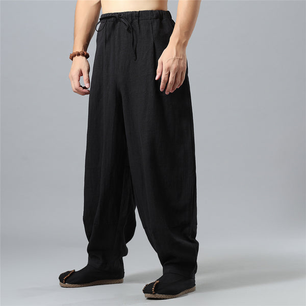 Men Loose Causal Pure Color Cotton and Linen Men Hanging Crotch Pants