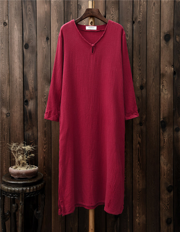 Women Retro Buckle Long Sleeved Cotton and Linen Dress