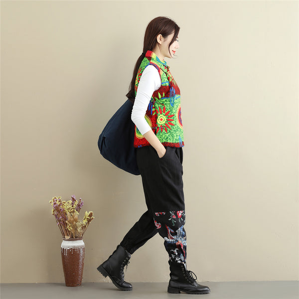 Women Retro Asian Style Quilted Printed Cotton Vest