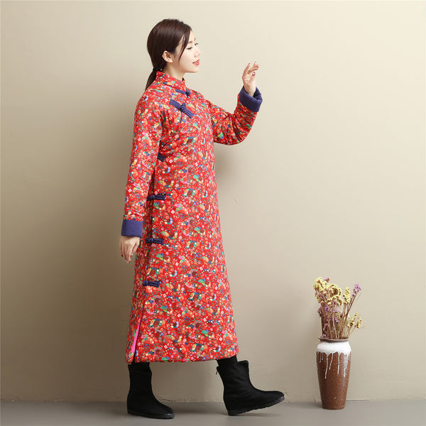 2020 NEW! Women Asian Dress Style Long Diagonal Buckle Linen and Cotton Printed Quilted Coat
