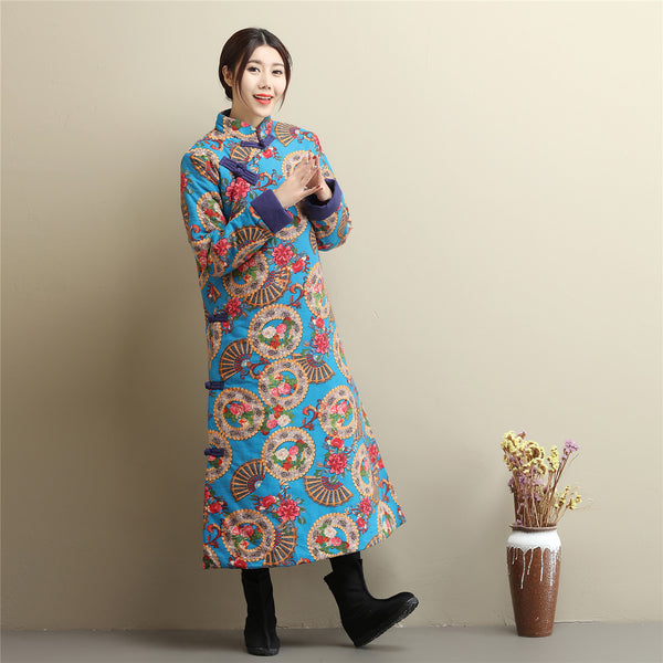 2020 NEW! Women Retro Asian Dress Style Long Diagonal Buckle Linen and Cotton Printed Quilted Coat