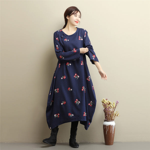 Women Eastern Style Linen and Cotton Tea Length Embroidery Hangfu Type Dress