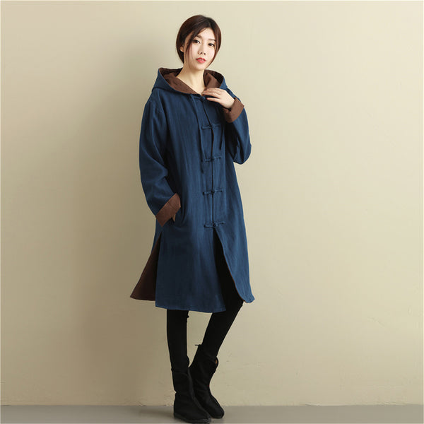 Women Simple Pure Color Double-sided Linen and Cotton Coat Hoodie